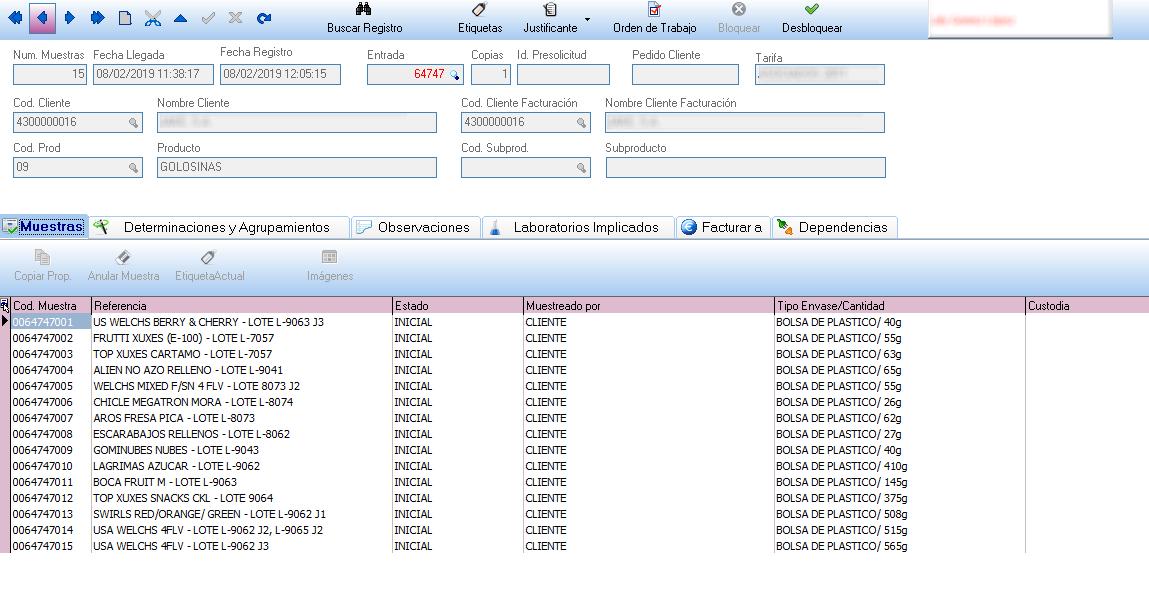registro muestras
